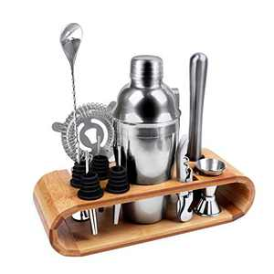 Cocktail Set with Stand,12 Pcs Bar Set Cocktail Shaker Set,Stainless Steel Bartender Kit Bar Accessories Tools,Martini Drink Mixing Kit for Home, Bar, Parties