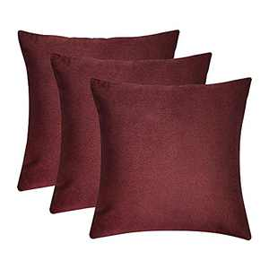 BDRS HOME Velvet Throw Pillow Covers for Sofa,Bedroom,Living Room,Decorative Pillow Cases for Couch,Pack of 3,16x16 Inches,Wine Red