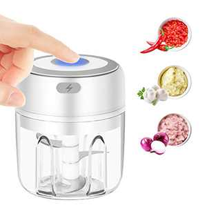 Mini Electric Garlic Chopper, Emiral Rechargeable& Portable Food Mincer Food Crusher Blender 250ml for Vegetables/ Garlic/ Chili/ Onions/ Nuts/ Pepper/ Ginger/ Baby Food/ Avocado