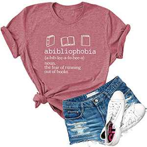 Dauocie Womens Abibliophobia Book Reader Lover Letter Print Short Sleeve T Shirts Casual Graphic Tees Tops Pink