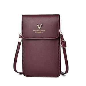 PoshBag Women's Crossbody Handbag, Cell Phone Holder, PU Leather Shoulder Purse, Adjustable Strap, Credit Card Slots(Purplish Red)