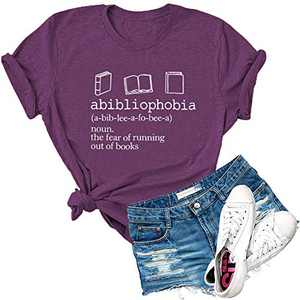 Dauocie Womens Abibliophobia Book Reader Lover Letter Print Short Sleeve T Shirts Casual Graphic Tees Tops Purple