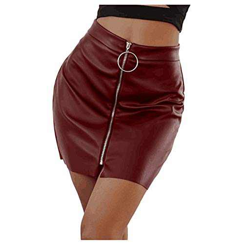UNBRUVO Fashion Women Solid Short Skirt High Waist Buttons Short Open Fork Bodycon Mini Lace-Up Pencil Skirt (Wine 2, M)