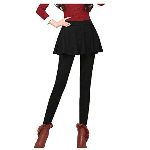 Women Autumn Winter Tight Plus Velvet Thicken Skirt Warm Lining Tights Pants Stretch Slim Leggings (Black, S)