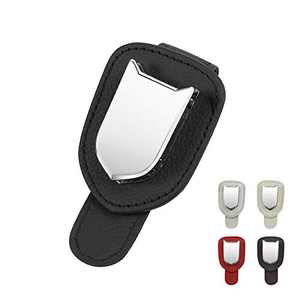 liangren Sunglass Holder for Car, Visor Sunglasses Clip with Ticket Card Clip, Leather Metal Car Visor Eyeglass Clip Wear-Resistant Durable Sturdy (Black) 1 Pack