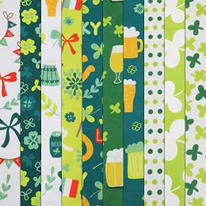 10 Pieces St. Patrick's Day Theme Cotton Craft Fabric, 20 x 20 Inch Green DIY Craft Cotton Fabric with Assorted Clover Pattern, Shamrocks Irish Patchwork Mixed Squares Bundle for DIY Fabric Sewing