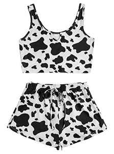 Avanova Women's Cow Print Pajama Set Ruffle Trim Tank Top and Shorts Ribbed Knit 2 Piece Sleepwear Set Cow X-Large