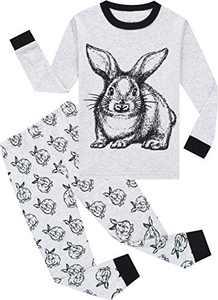 Boys Pajamas Toddler Kids Girls Rabbit Pjs Long Sleeve Easter Pants Set Size 4