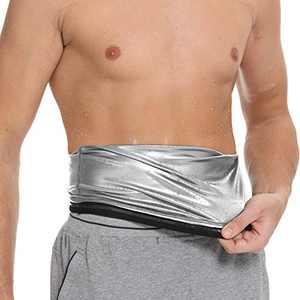 Rishaw Waist Trimmer for Men,Sauna Slimming Belt Waist Trimmer Sweat Workout Shaper for Weight Loss Training Fitness,Neoprene-Free Waist Cincher(Silver) M
