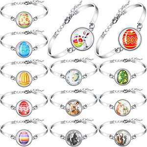Hicarer 13 Pieces Easter Rabbit Bracelet Dome Glass Jewelry Easter Silver Rabbit Bracelet Bunny and Egg Themed Bracelets for Women Girls
