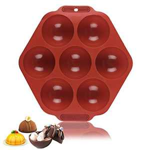7 Holes Circle Round Ball Half Semi Sphere Silicone Mold for Baking Hot Chocolate Bombs, Cupcake Cake, Jelly, Pudding, Dome Mousse