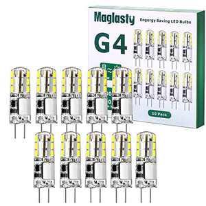 G4 LED Bulbs, 1.5W 12V Mini Capsule Light Bulb AC/DC (20W Halogen G4 Lamp Equivalent), Bi-Pin Base JC Type Non-dimmable for Lighting Decor, Chandelier Home 10Pack (Cool White)