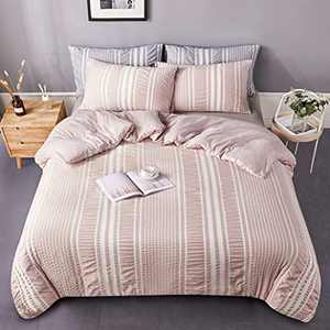DuShow Stripe Duvet Cover King Pink Textured Microfiber Duvet Cover,Yarn-Dyed Solid 3 Pieces (1 Duvet Cover + 2 Pillow Cases) Soft Comforter Cover Set with Zipper