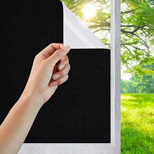 """Static Cling Total Blackout Window Film, 100% Sun Light Blocking Window Covering for Room Darkening, Privacy Reflective Window Tint for Home Office Frosted Black White 17.7"""" x 70.8""""…"""