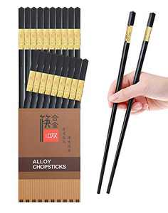 10 Pairs Reusable Chopsticks Dishwasher Safe,9.5 Inch Fiberglass Chop Sticks Multipack Metal Japanese Korean Chopsticks for food…