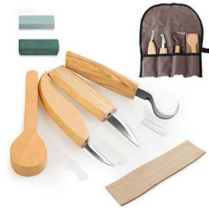 Wood Carving Tools 7 in 1 Wood Carving Kit with Hook Carving Knife, Detail Wood Knife, Whittling Knife, Leather Strop, Beech Spoon, Whetstone, Polishing Wax for Spoon, Bowl, Cup or General Woodwork