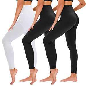 TNNZEET 3 Pack High Waisted Leggings for Women - Buttery Soft Workout Running Yoga Pants (Black/Black/White, XX-Large, xx_l)