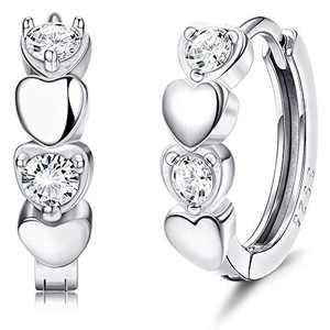 Sllaiss Sterling Silver Heart Small Hoop Earrings for Women Cute CZ Huggie Hoop Earrings Tiny Sleeper Cartilage Earrings for Daughter Gifts (Silver Tone)