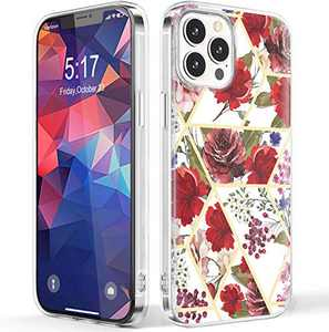 NIAFAYA Case Compatible with iPhone 12 Pro Max 6.7 inches Clear Sparkle Cute Flower Floral for Women Girls Slim Glossy Shockproof Soft Silicone Protective Cover-Without Gold Powder(Rose)