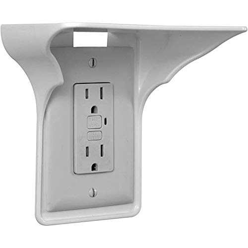 Power Perch Single Wall Outlet Shelf, Home Wall Shelf Organizer for Outlets,Perfect for Bathroom, Kitchen, Bedrooms with Cord Management and Easy Installation