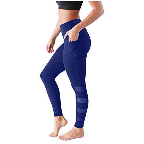 Yoga Pants for Women with Pockets High Waisted Leggings Tummy Control Booty Leggings Butt Lift Tights (Blue, L)
