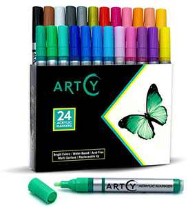 ARTCY Paint Pens Water-Based Acrylic Markers Set (Assorted 24-Colors)   For Rock Painting, Canvas, Glass, Porcelain, Fabric, Paper, Pottery and Plastic   Replaceable Medium tip   Modern Art Supplies