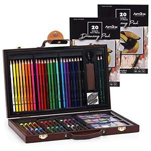 Art Set in Wooden Case, ARTIBOX 86PCS Professional Color Painting Drawing Set Including Oil Pastels, Colored Pencils, Watercolor Cakes, Graphite Pencils with Compact Portable Case for Kids and Adult