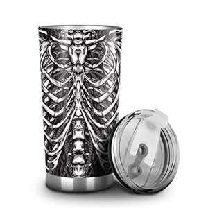 WILDLAVIE 20 oz Tumbler Stainless Steel Cup with Lid Vacuum Double Wall Insulated Travel Coffee Mug 3D Skeleton Armor Water Bottle