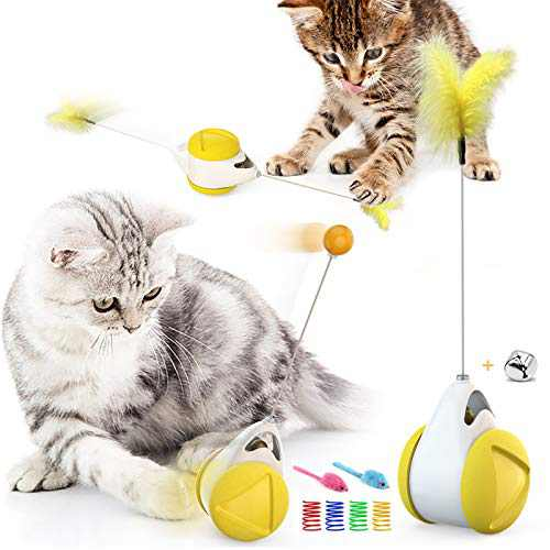 TAKO TUZSDAAY Balance Cat Feather Toys, Interactive Cat Toys with Catnip and Bell, for Kitten Indoor Dance or Exercise, Bonus Toys for Cats Included (Yellow)