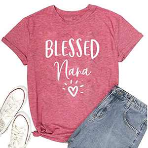 oten Cute Graphic Tees Tshirts Womens Letter Print Blessed Nana Lucky T-Shirts Blessed Nana Loose Casual Short Sleeve Shirts Tees Crew Neck Heart Sunshine Ideas