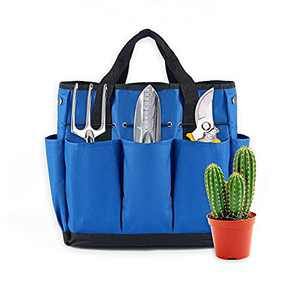byhui Garden Tote Bag, Large Garden Tool Storage Bag and Organizer Bag with Pockets, 600D Oxford Organizer Keep Tools Neaty Wear-Resistant & Reusable, 14 Inch,8 Storage Pockets (Blue)