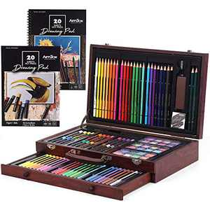 ARTIBOX 111 Pcs Deluxe Art Painting Set, Professional Artists Drawing Kit Art Supplies in Portable Wooden Box with Oil Pastels, Crayons, Colored Pencils, Water Color Paints Suitable for Kids Adults