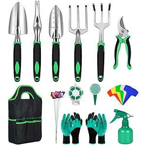 Dveda Garden Tools Set, Stainless Steel Heavy Duty Gardening Hand Tools Set with Garden Gloves, Organizer Bag and Gardening Supplies, Great Gardening Tools Gift for Men Women Parents Kids