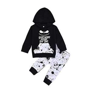 2PCs Toddler Infant Baby Boys Clothes Nightmare Long Sleeve Hoodie Tops Sweatsuit and Skull Pants Halloween Outfit Set 2-3 T 110