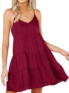 KIRUNDO 2021 Summer Women's Spaghetti Straps Mini Dress Sleeveless Solid Color V-Neck Backless Casual Swing Skater Pleated Dress (Wine Red, Small)