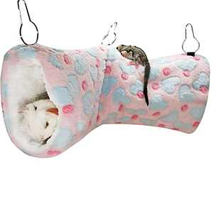 LEFTSTARER Hanging Tunnel for Small Animals Guinea Pig Accessories Sugar Glider Cage Accessories Hamster Rat Toys Ferret Hammock(Heart-Pink)