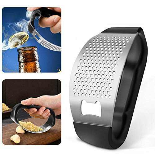 2 in 1 Stainless Steel Garlic Press Crusher Chopper Bottle Opener Kitchen Gadge, for Home Kitchen,Garlic Mincer Crusher Peeler Rocker (Black, 11.6X5cm)