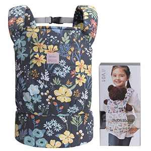 Bebamour Baby Doll Carrier for Kids Front and Back Carrier Original Cotton Baby Carrier for Doll for Boys & Girls (Black Flower)