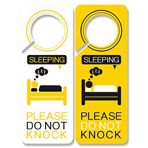 4 Pack Dont Ring Doorbell Sign Baby Sleeping, Shh Baby Sleeping Soor Sign PSLER Do Not Knock Or Ring Doorbell Sign PVC Plastic
