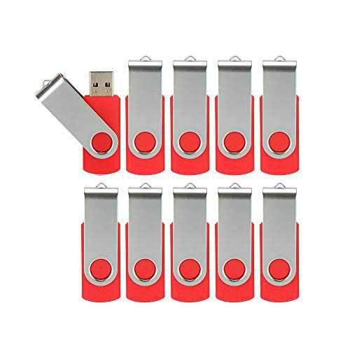 Alihelan 10pcs 32GB USB Flash Drives USB 2.0 Thumb Drive Bulk Pack Swivel Memory Stick 32 GB Fold Storage Jump Drive Zip Drive, 10 Pack Red