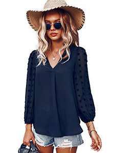 Womens Tops Long Sleeve, V Neck Elegant Blouse Shirt Lantern Long Sleeve Navy M