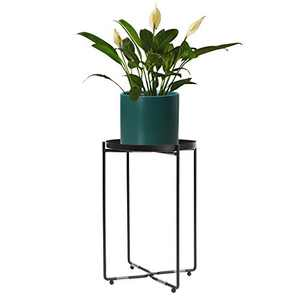 HOKEMP Black Metal Plant Holder Stand with Round Tray - Mid Century Indoor Outdoor Houseplant Stand Corner Shelf, Metal Floor Planter Set with Foldable Stand