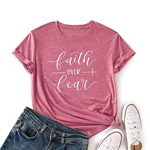 JTJFIT Faith Over Fear T-Shirt Women Cute Shirt Funny Tee Casual Short-Sleeve Girl T-Shirts Top(Pink-L