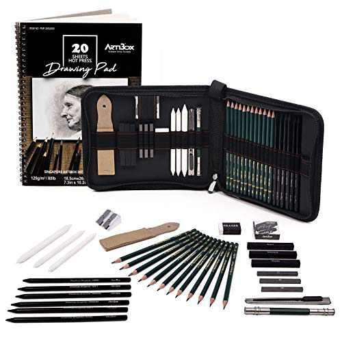 Sketching Pencil Set, ARTIBOX 35 Pcs Professional Drawing Kit Complete Art Set with Drawing Pad and Bag, Including Graphite Pencils, Stump Blenders, Charcoal Sticks for Artist Beginners