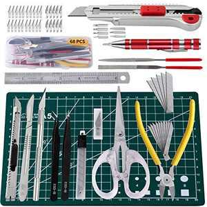 68 Pcs Art Knife Kit Craft Knife Set,Gundam Model Tool,Including Art Scissor,Cutting Mat,Cutting Plier,Tweezer,Screwdriver,File,Ruler,Process The Knife etc,Suitable for Artistic Modeling
