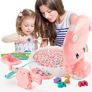 UNIH Fishing Toys with Math Balance, Magnetic Fishing Games for Kids Preschool Educational Learning Toys for 3 Year Old Girls Gift
