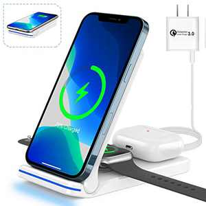 3 in 1 Wireless Charging Station, Any warphone Foldable15W Fast Wireless Charger for Apple IWatch 6/SE/5/4/3/2/1,AirPods 3/2, iPhone 11/12 Series/XS MAX/XR/XS/X/8/8 Plus