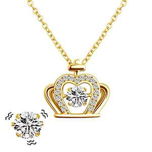 MYLONGINGCHARM Imperial Crown Beating Heart Necklace Gifts for Women, Personalized Dancing Cubic Zirconia Pendant Jewelry for Her/Mom/Wife/Girlfriend/Best Friend (Gold