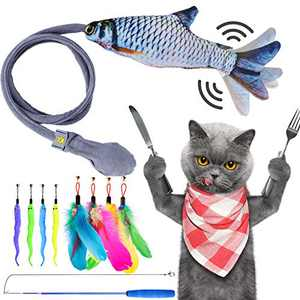 CHOOBY Cat Toy, Interactive Catnip Cat Teaser Fish Toys, 8 Pcs Bird Feathers Worms Bells Kitten Supplies with Retractable Wand for Cat Lovers Having Fun with Outdoor and Indoor Cats Kitty