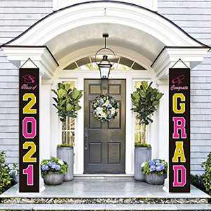 Graduation Decorations Banners - Class of 2021 & Congrats Graduation Hanging Banner Set for Outdoor/Indoor Home Front Door Wall, Great Fabric Porch Sign - Black